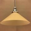 Gul 25 cm skomakarskärm med nickel/grå tygsladdsupphäng - 250 mm gul hög skomakarelampa med tvinnat grått tygsladdsupphäng