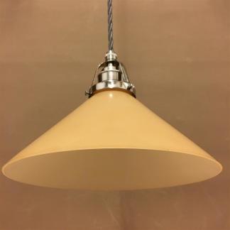 Nickel/grå tygsladd med gul 25 cm skomakareskärm - 250 mm gul hög skomakarelampa med tvinnat grått tygsladdsupphäng