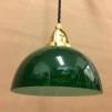 Mörkgrön skålformad skärm med mässing/svart tygsladdsupphäng - Skålformad grön hänglampa med tvinnat svart tygsladdsupphäng