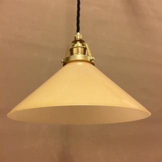 Gul 25 cm skomakarskärm med mässing/svart tygsladdsupphäng - 250 mm gul hög skomakarelampa med tvinnat svart tygsladdsupphäng
