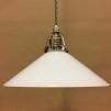 Opalvit 25 cm skomakarskärm med nickel/grå tygsladdsupphäng - 250 mm vit skomakarelampa med tvinnat grått tygsladdsupphäng