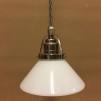 Opalvit 15 cm skomakarskärm med nickel/grå tygsladdsupphäng - 150 mm vit skomakarelampa med tvinnat grått tygsladdsupphäng