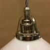 Opalvit 20 cm skomakarskärm med nickel/grå tygsladdsupphäng