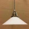 Opalvit 20 cm skomakarskärm med nickel/grå tygsladdsupphäng - 200 mm vit skomakarelampa med tvinnat grått tygsladdsupphäng
