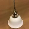 Opalvit lägre klockskärm med nickel/grå tygsladdsupphäng