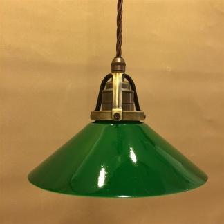 Mörkgrön 20 cm skomakarskärm med antikt/brunt tygsladdsupphäng - 200 mm grön skomakarelampa med tvinnat brunt tygsladdsupphäng