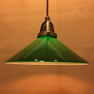 Mörkgrön 25 cm skomakarskärm med antikt/brunt tygsladdsupphäng - 250 mm grön skomakarelampa med tvinnat brunt tygsladdsupphäng