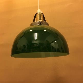 Mörkgrön skålformad skärm med enkelt plastupphäng - Grön skålformad klockskärm + 130 cm sladdupphäng med klippt sladd (för tak)