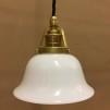 Opalvit lägre klockskärm med mässing/svart tygsladdsupphäng