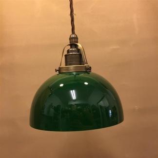 Antik/brun tygsladd med mörkgrön skålformad skärm - Skålformad grön hänglampa med tvinnat brunt tygsladdsupphäng
