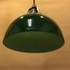 Antik/brun tygsladd med mörkgrön skålformad skärm