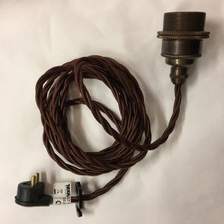 Tygsladdsupphäng brunt/antikt med 2 ringar - Tvinnad brun tygsladd E27, antikt fäste, takkontakt och 2 ringar (ingen klofattning)