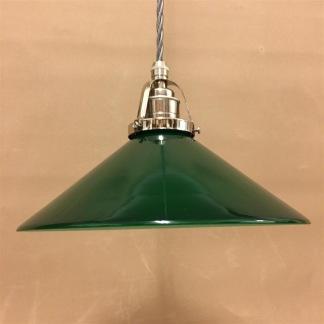 Mörkgrön 25 cm skomakarskärm med nickel/grå tygsladdsupphäng - 250 mm grön skomakarelampa med tvinnat grått tygsladdsupphäng