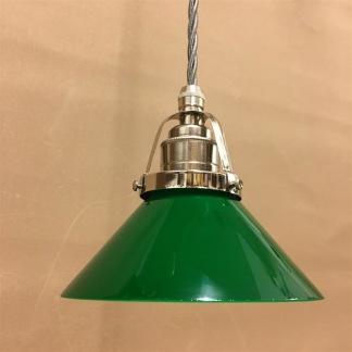 Mörkgrön 15 cm skomakarskärm med nickel/grå tygsladdsupphäng - 150mm grön skomakarelampa med tvinnat grått tygsladdsupphäng