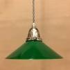 Mörkgrön 20 cm skomakarskärm med nickel/grå tygsladdsupphäng - 200 mm grön skomakarelampa med tvinnat grått tygsladdsupphäng