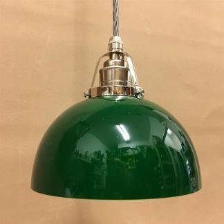 Mörkgrön skålformad skärm med nickel/grå tygsladdsupphäng - Skålformad grön hänglampa med tvinnat grått tygsladdsupphäng