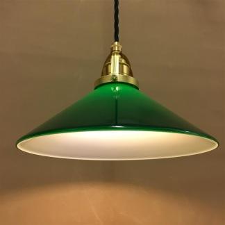 Mörkgrön 25 cm skomakarskärm med mässing/svart tygsladdsupphäng - 250 mm grön skomakarelampa med tvinnat svart tygsladdsupphäng