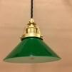 Mörkgrön 15 cm skomakarskärm med mässing/svart tygsladdsupphäng - 150mm grön skomakarelampa med tvinnat svart tygsladdsupphäng