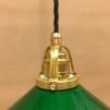 Mörkgrön 20 cm skomakarskärm med mässing/svart tygsladdsupphäng