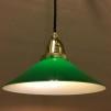 Mörkgrön 20 cm skomakarskärm med mässing/svart tygsladdsupphäng - 200 mm grön skomakarelampa med tvinnat svart tygsladdsupphäng
