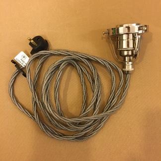 Tygsladdsupphäng grått/nickel med klofattning(3 skruvar) - Tvinnad grå tygsladd E27 takkontakt och 3-skruvar/klofattning