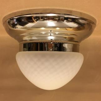 Taklampa ampelplafond optisk/nickel 31 cm - Taklampa plafond nickel + optisk ampelskärm 200 mm