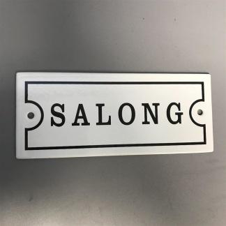 Emaljskylt: Salong - Skylt emalj: Salong (versaler)
