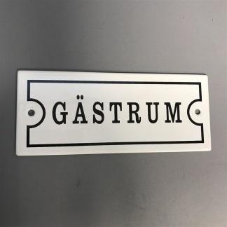 Emaljskylt: Gästrum - Skylt emalj: Gästrum (versaler)