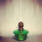 Fotogenlampa 14''' med ljusgrönt oljehus (äldre)