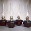 Fotogenlampa nicklad 14''' med mörkgrönt oljehus (äldre)