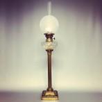 Antik fransk fotogenlampa piedestal 14''' (äldre)