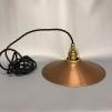 Kopparlampa med tygsladd (äldre) - Äldre lampskärm + tygsladd svart med klofäste