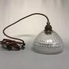 Glasklar lampa med tygsladd (äldre) - Äldre lampskärm + tygsladd brun med 2 ringar