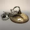 Retrolampa med tygsladd (äldre) - Äldre lampskärm + tygsladd grå med 2 ringar