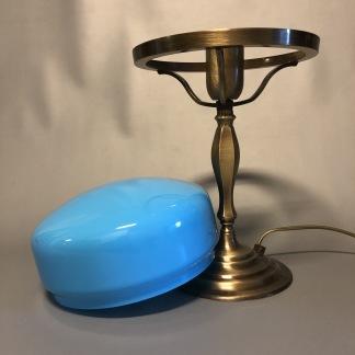 Strindbergslampa klassisk 200 mm blå - Strindbergslampa KLASSISK i antikoxiderad mässing + orange 200mm skärm