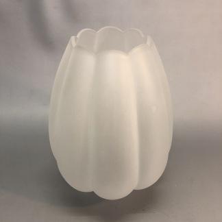 85 mm - Kupa 14''' tulpan matt vågad kant (Kupa till fotogenlampa) - Kupa 14''' helmatt tulpanmodell med vågad kant