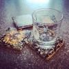 4 st glasunderlägg Jugend - svarta