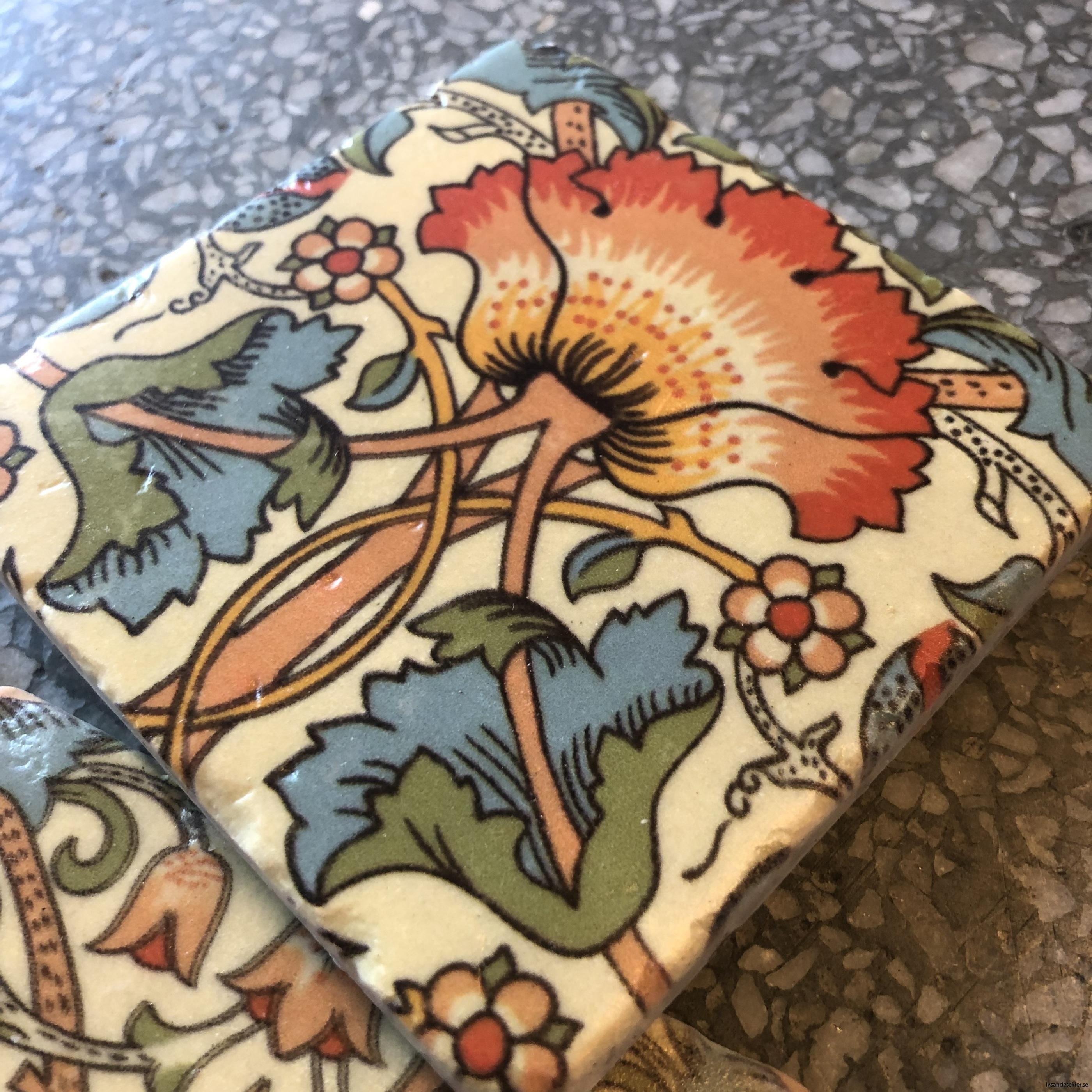 glasunderlägg jugend blommor art nouveau underlägg glas4