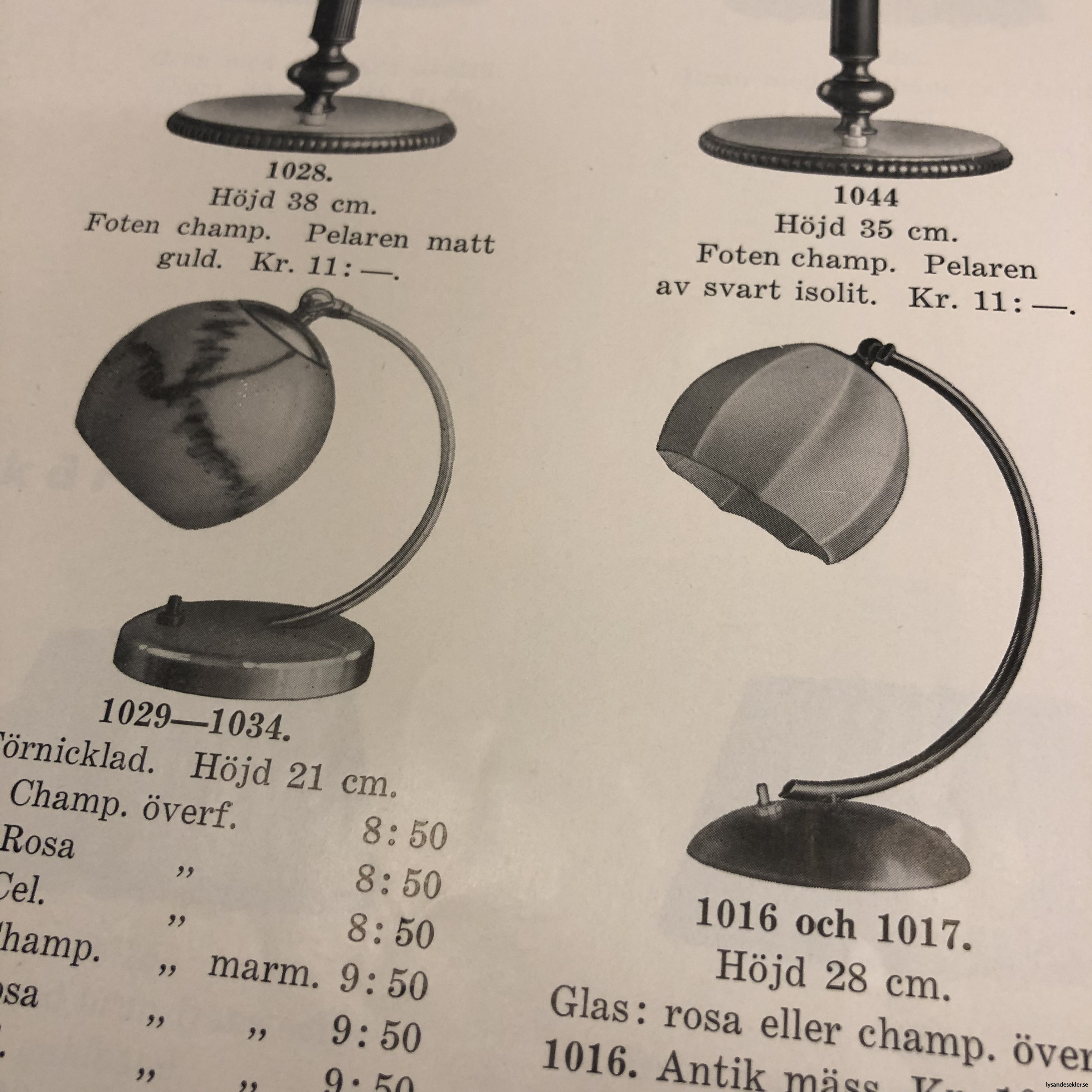 bordslampor 30-tal