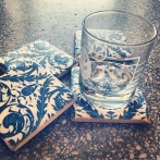 4 st glasunderlägg Jugend - blå/vit