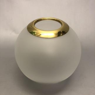 65 mm - Kupa 135 mm dansk klot med mässingstopp och halvfrost (Kupa till fotogenlampa) - Kupa liten 10'''(65 mm) med mässingstopp - halvfrostad