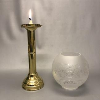 Ljusstake med klotkupa i mässing - Holländsk ljusstake med klotkupa