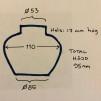 14''' insatsoljehus ogipsat för lock (Oljehus till fotogenlampor)