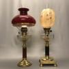 Otrolig fotogenlampa 20''' med vinröd fot och skärm (äldre)