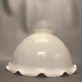Opalvit skålformad volangskärm - 60 mm krage - Skärm skålformad vit med vågig kant
