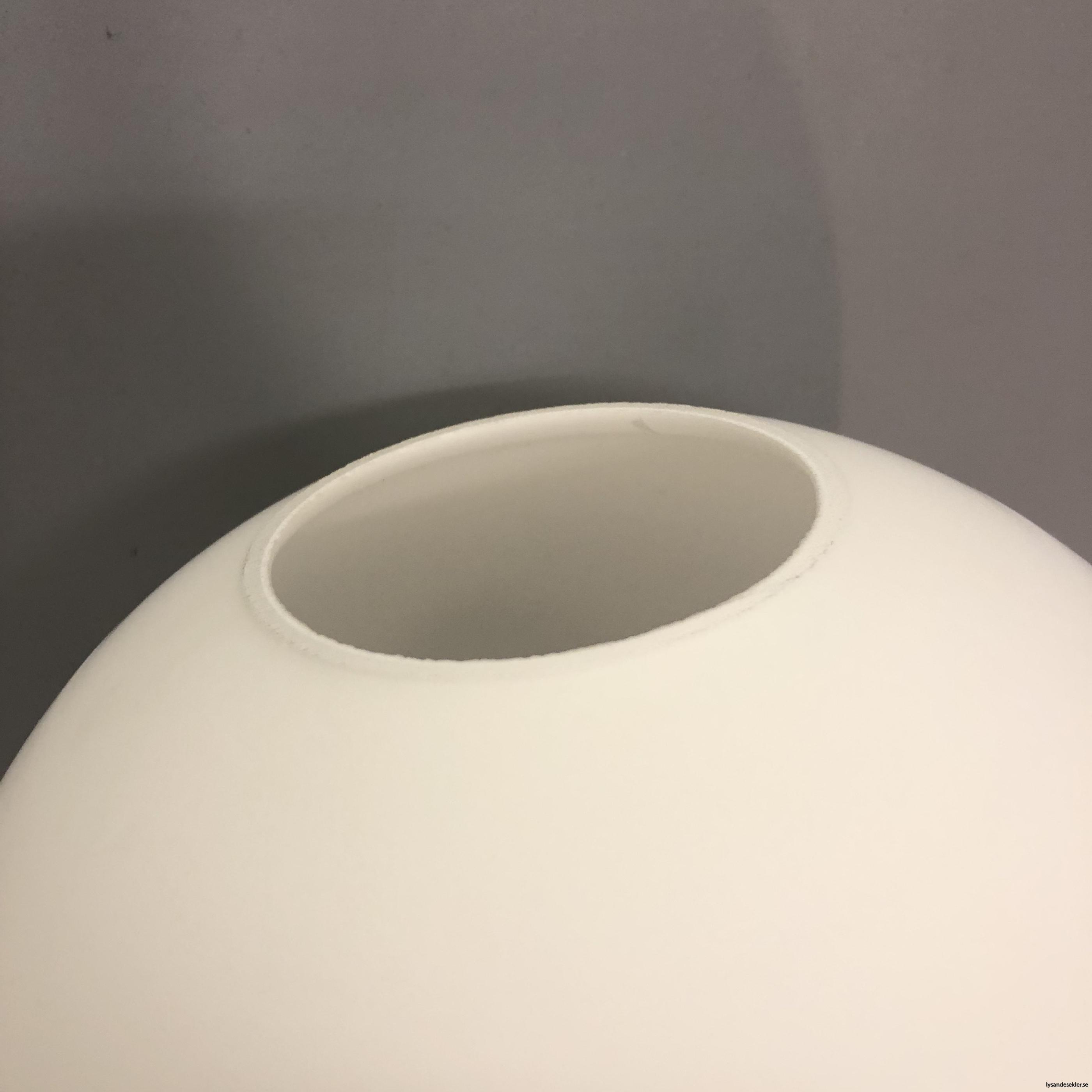 klot glas lampklot lampglas klotglas matt blankt vitt hålkupa hål9