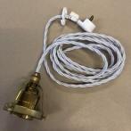 Tygsladdsupphäng vitt/mässing med klofattning(3 skruvar)