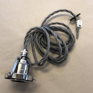 Tygsladdsupphäng grått/nickel med klofattning(3 skruvar) - Tvinnad grå tygsladd E27 med skalad sladd och 3-skruvar/klofattning