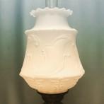 85 mm - Kupa 14''' matt vit medaljongmönster (Kupa till fotogenlampa)