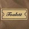Emaljskylt: Toalett - Skylt i antikvitt: Toalett